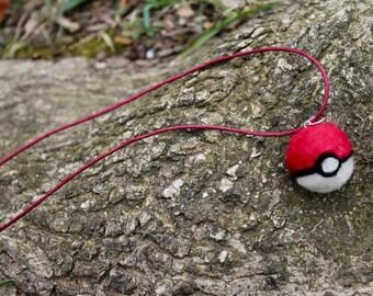 Needle Felted Pokeball Necklace // Pokemon // Pokemon Jewelry // Handmade Necklace // Felted Necklace // Felt Pendant