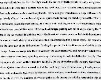 Fine Print SEWING HISTORY Black and White; Text/words - Quilting Cotton; [[by the half yard]]