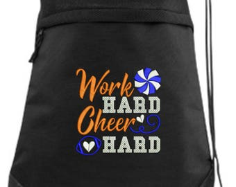 Embroidered Cheer Drawstring Bag/ Embroidered Cheer Bag/ Work Hard Cheer Hard Cheer Bag/ Cheer Cinch Drawstring Bag/ Embroidered Bag