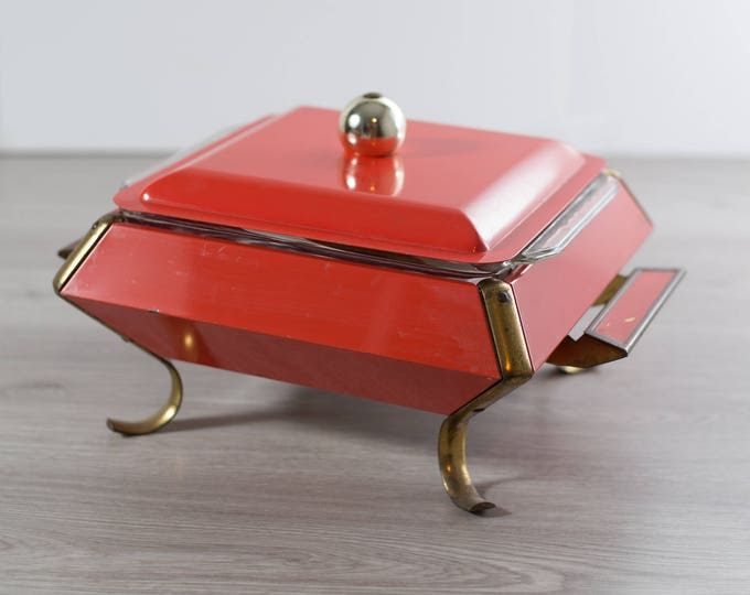 Vintage Casserole Dish / Coral and Brass Dinner Dish Warmer / Space Age Atomic Square