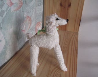 """Children knitted white poodle named """"Curl"""" plush dog"""