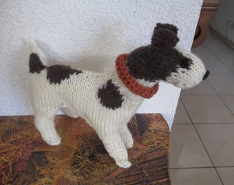 Knitted woolen JackRussel dog animal toy