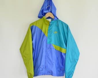 Nike Vintage Windbreaker Light Pack-able Weight Multi Color Block Hooded Ripstop Nylon Size 10-12 Women's  1990's Era