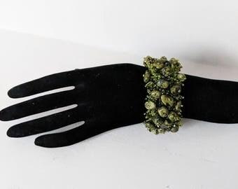 Unique Vintage 925 Serpentine Stone original design green Bead Bracelet