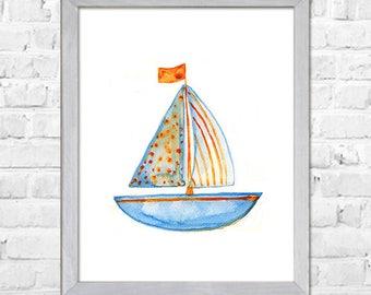 Sailing Boat, Nautical Nursery Art, Kids Wall Art Print, Sail Boat Art, Nursery Print, Kids Wall Decor, Blue Nursery Art, Room Wall Decor