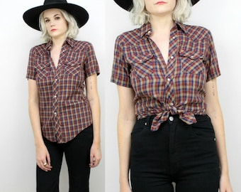 70s Plaid Button Up Shirt, Size Small, Medium, Brown, Pearl Snaps, Western Americana, Cowboy, Cowgirl, Short Sleeved Collared Blouse , Retro