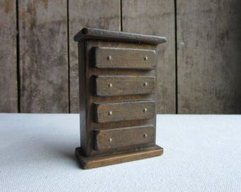 Vintage Dollhouse Wood Dresser, Doll House Wood Chest of Drawers. Miniature Handmade Wood Dresser,Primitive Bedroom Furniture,Rustic,Country