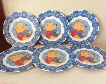 Vintage Set of 6 Winnie the Pooh Kids Melamine Dinner Plates Zak Designs 11\u201d Disney & Plates zak designs | Etsy