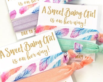 Feather Baby Shower Favors | Custom Boho Baby Shower Favors | Baby Girl Shower Favors | It's A Girl | Hair Tie Favors | Oh Baby | Baby Girl