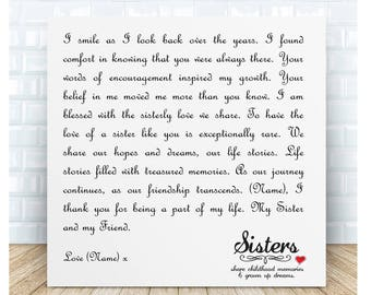 Sister Poem Ceramic Plaque - Friendship. Personalised Gifts