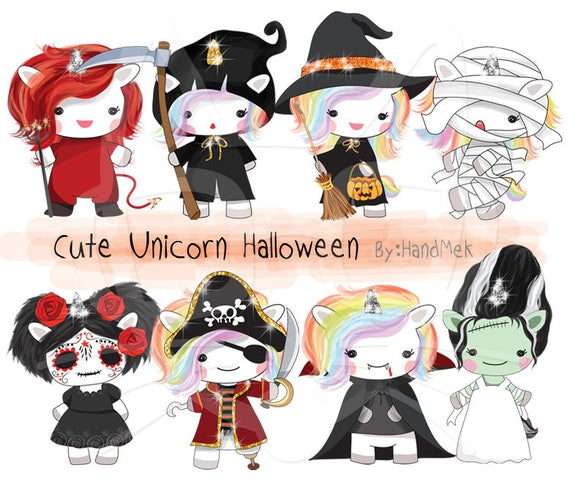 Cute Unicorn Halloween clipart instant download PNG file 300