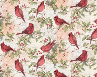 Christmas Fabric Christmas Cardinal With Holly Fabric From Springs Creative By Susan Winget