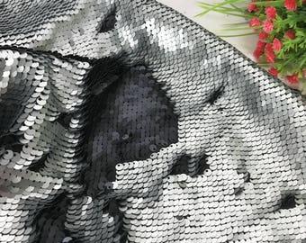 1yard Matt Gray/M Black Flip Up Sequin Fabric,Reversible Sequin Fabric,Two-Tone Sequin on Satin,Has no Stretch,2Tone Mermaid Sequin Fabric