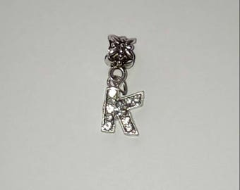 X 1 pendant letter K silver and rhinestone