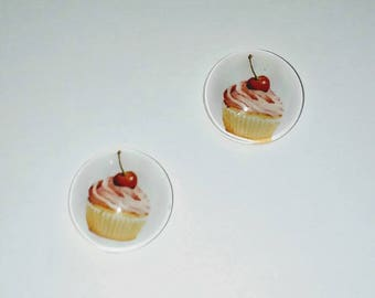 Strawberry Cupcake Cabochons 2 X and its 12mm cherry