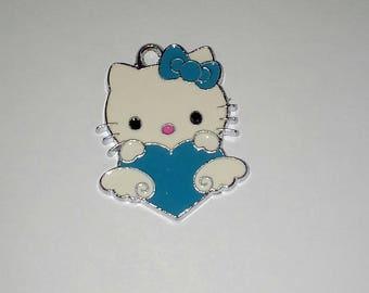 X 1 kitty cat and blue enamel heart 23mm