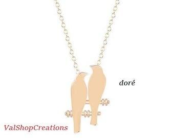 Gold bird Couple necklace