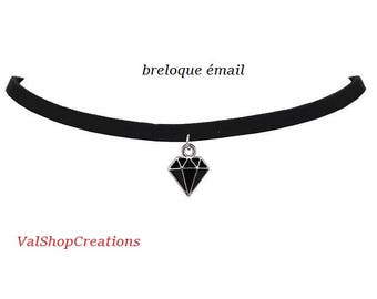 Black velvet necklace-Choker and a diamond