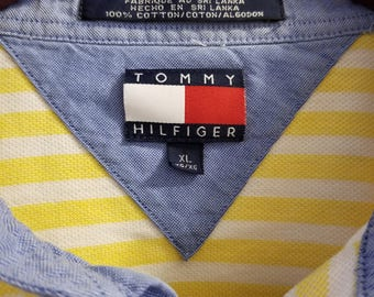 Tommy Hilfiger striped polo short sleeved size XL