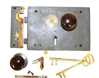 Wrought Iron Left Hand Carpenters Rim Lock Old Home Restoration Black Knobs