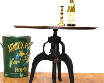 "Iron Crank Vintage Side TABLE OLD FASHIONED Factory Industrial Hand Made Furniture 27.75"" Top Diameter"