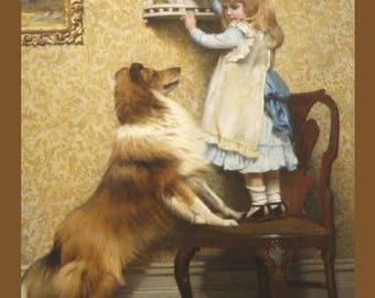 "Secret Place, Charles Burton Barber, 1845-1894, Child, Dog, Pet, 11x14"" Cotton Canvas Print, girl collie dog, animal art, antique dog art"