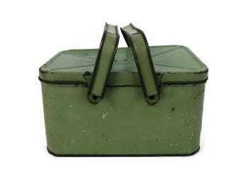 Vintage Metal Lunch Pail - Tin Lunch Pail - Swing Handle Lunch Tin - Metal Storage Tin - Metal Lunchbox