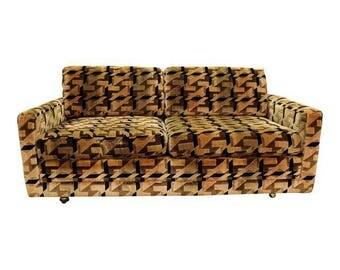 Mid-Century Sofa Danish Modern Milo Baughman Selig Loveseat Sofa on Wheels