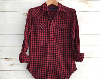 Vintage Ralph Lauren Red Black Checkered Long Sleeve Flannel Womens's XS