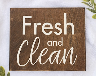 Farmhouse Bathroom Sign Rustic Bathroom Sign Wooden Bathroom Signs Fresh And Clean Sign