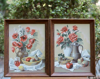 RESERVED Pair of Vintage 1964 Framed Paint By Number Floral Still Life Paintings / Floral and Fruit Paintings / Paint By Number Flowers