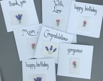 Happy Birthday - Embroidered Lavender Card