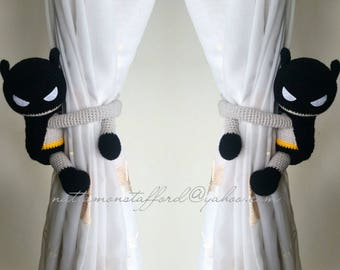 A pair of Batman Crochet curtain tie back,  Crochet Batman,Nursery tie backs.*** MADE TO ORDER***
