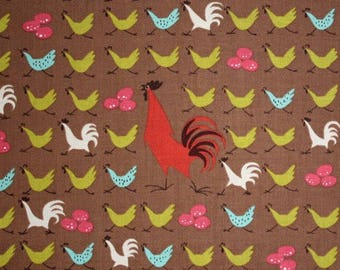 Closing Sale 21X44 Alexander Henry Farmdale Chicken Crossing Brown Fabric don't miss AMAZING Rare Very Hard to Find Oop