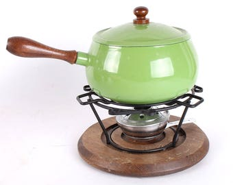 Retro Fondue Set and Fire King Hot Plate and Dish