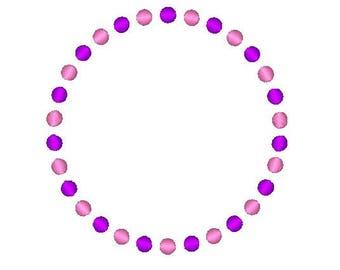 Circle Dots Embroidered Frame,embroidery frame,dots frame,monogram frame,digital download,instant download, embroidery download
