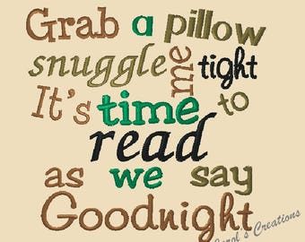 Reading Pillow Saying,Grab a Pillow, Pillow Quotes,pocket pillow sayings,embroidery designs,reading saying