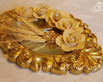 Sofreh aghd Bread Flower gold tray decorative ( Set of 5 flower) for Persian Wedding