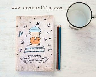 Sailor Beard Traveler's nautical Notebook, Back to School, Sketchbook, Ocean Journal, gift for him, sailing, boating, ocean, seaside, beach