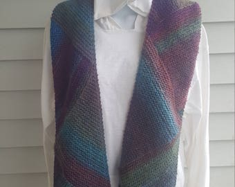 Super soft knit scarf, winter wear, holiday gift, woman scarf, scarves and wraps, triangle directional scarf (glacier bay)
