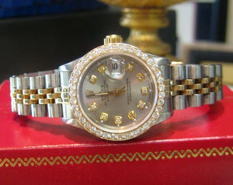 Ladies ROLEX Oyster Perpetual Datejust Diamonds Yellow Gold and Stainless Steel