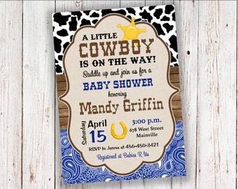Cowboy Baby Shower Invitation, Invite, Boy, Bandana, Country, Western - Printable or Printed