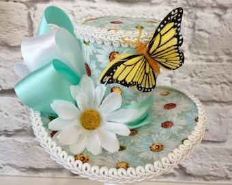 Daisy Mini Top Hat, Daisy fascinator, Tea Party Mini Top Hat, Butterfly Hat