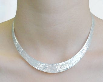 ON SALE NOW Silver Choker, Statement Choker, Solid Silver, Classic Necklace,  Choker Necklace, Chunky Silver Necklace, Gifts For Wife, Hamme