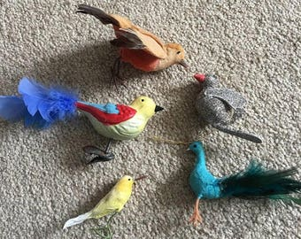 Lot of 5 vintage bird ornaments