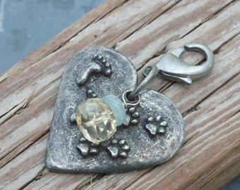 Aquamarine Dog Jewelry; Dog Collar Charm; Heart Dog Tag; Gemstone Dog Jewelry; Dog Paw Charm: Inspiring Dog Lover Gift; Gift for Dog