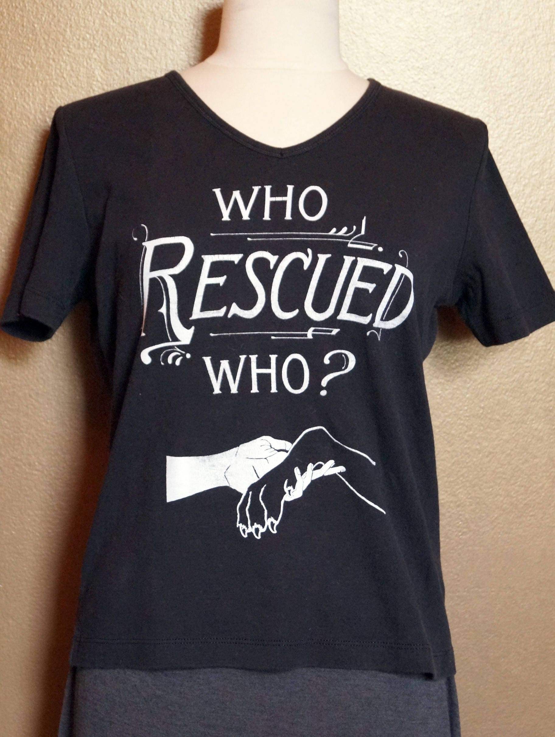 """Small """"Who Rescued Who"""" Tee, White Ink on Black"""