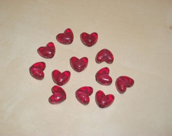 Set of 12 hearts beads Burgundy