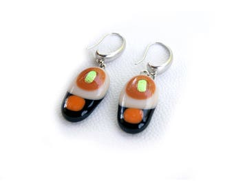 Fused glass Earrings. Orange, brown and golden dichroic
