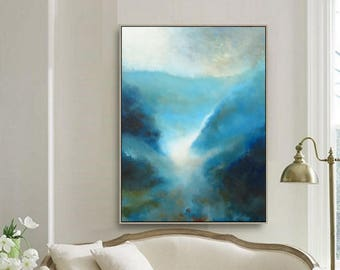 """36"""" x 28"""" ORIGINAL ABSTRACT PAINTING, Landscape, Large painting, Acrylic on canvas"""